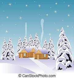 bois, neige, village