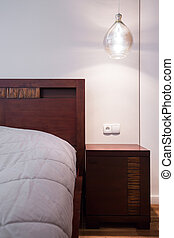 bois, nightstand, confortable, chambre à coucher
