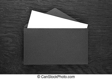 bois, noir, enveloppe, table
