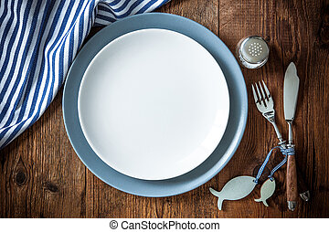 bois, nourriture, mer, copie, endroit, arrangement tableau, espace