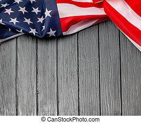 bois, nous, arrière-plan., drapeau