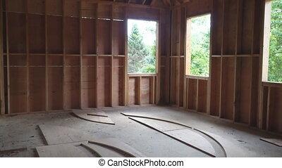 bois, nouveau, construction, résidentiel, maison, encadrement