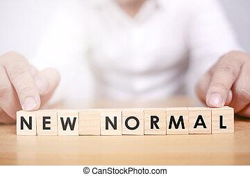 bois, nouveau, grand, arranger, alphabet, distancing, normal, changement, covid-19, cube., mot, homme, après, social, pandémie
