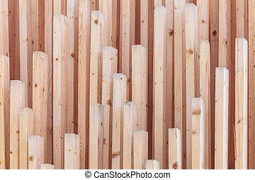 bois, nouveau, planches, vertical, rang