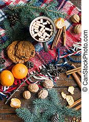 bois, objets, épices, noël, symboles, nourriture, autre, traditionnel, table