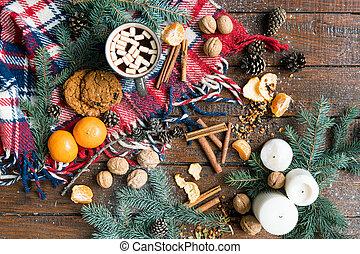 bois, objets, noël, fond, nourriture, autre, symboles, table