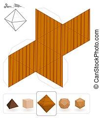 bois, octahedron, solides, platonic, texture