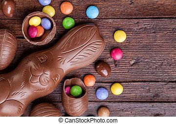 bois, oeufs, chocolat, bonbons, fond, paques