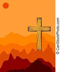 bois, ombre, art, croix