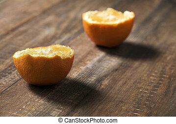 bois, orange, coupure, table, moitié