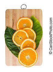 bois, orange, découpage, juteux, planche