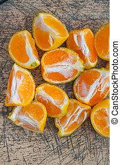 bois, orange, table, pile, tranches