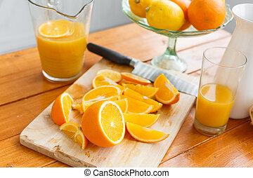 bois, oranges, coupé, sain, découpage, savoureux, board., petit déjeuner
