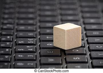 bois, ordinateur portable, bloc, clavier