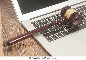 bois, ordinateur portable, juge, informatique, fond, marteau
