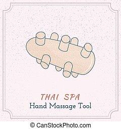 bois, outillage, thaï, massage.