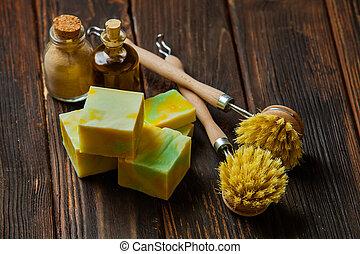 bois, outils, compostable, cuisine, nettoyage, table