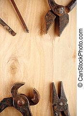 bois, outils, rouillé, vieux, fond