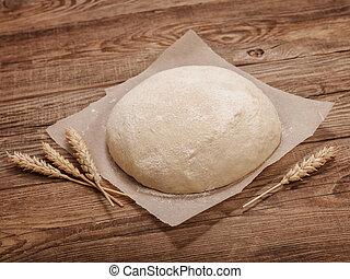 bois, pâte, concept, paques, table.