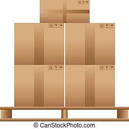 bois, palette, boîtes, carton