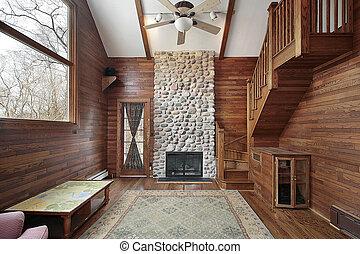 bois, paneled, salle famille