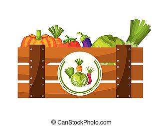 bois, panier, légumes, rempli, frais