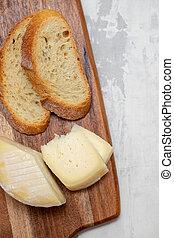 bois, panneau fromage, pain