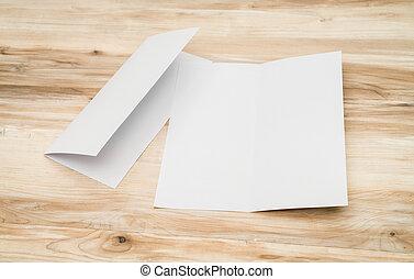bois, papier, gabarit, texture, bifold, blanc