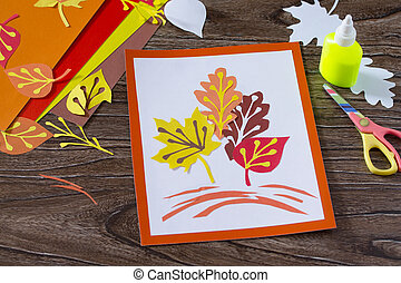 bois, papier, kids., arrière-plan., feuilles, feuilles, automne, project., enfants, métiers, art, coloré
