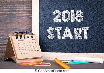 bois, papier, start., 2018, table, calendrier, tableau