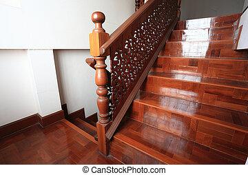 bois, parquet, escalier, plancher