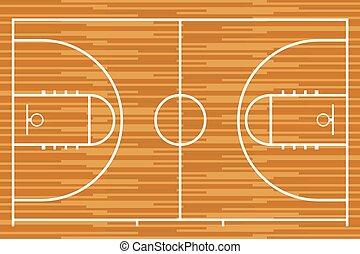 bois, parquet, tribunal, basket-ball