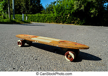 bois, patin, skateboard, planche, 70