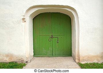 bois, peint, porte verte, moyen-âge