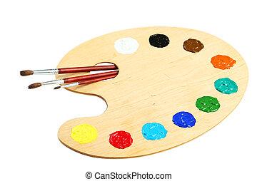 bois, peintures, palette, art