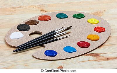 bois, peintures, palette, brosses, art