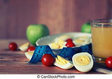 bois, petit déjeuner, fruit, oeuf, fond