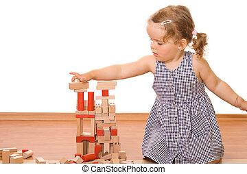 bois, peu, blocs, girl, jouer