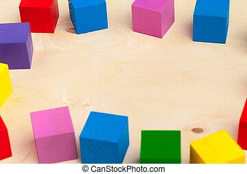 bois, photo., créatif, sommet, vue., blocs, coloré, fond