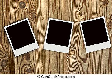 bois,  Photo,  polaroid, fond, cadres