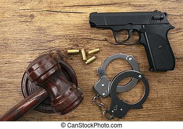bois, pistolet, arrière-plan noir
