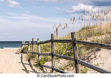 bois, plage, chemin, barrière