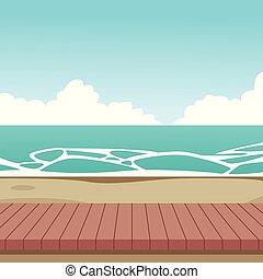 bois, plage, dessin animé, paysage