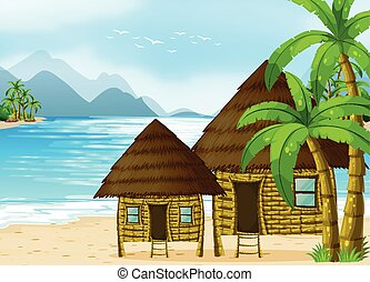 bois, plage, huttes