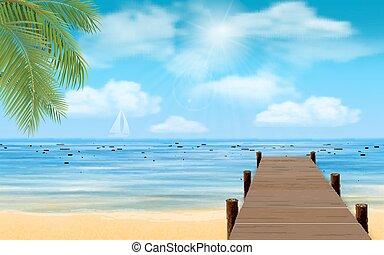 bois, plage, jetée, mer