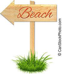 bois, plage, planche
