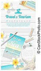 bois, plage, voyage, exotique, 5, planche, fond, cartes postales, tourisme