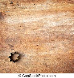 bois, planche découper, coupeur pâtisserie