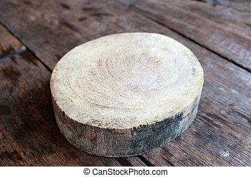 bois, planche découper, table, rond, vide