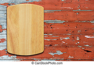 bois, planche découper, table.top, vide, vue